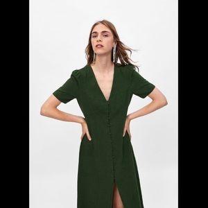 ZARA Linen Green Button Down Dress